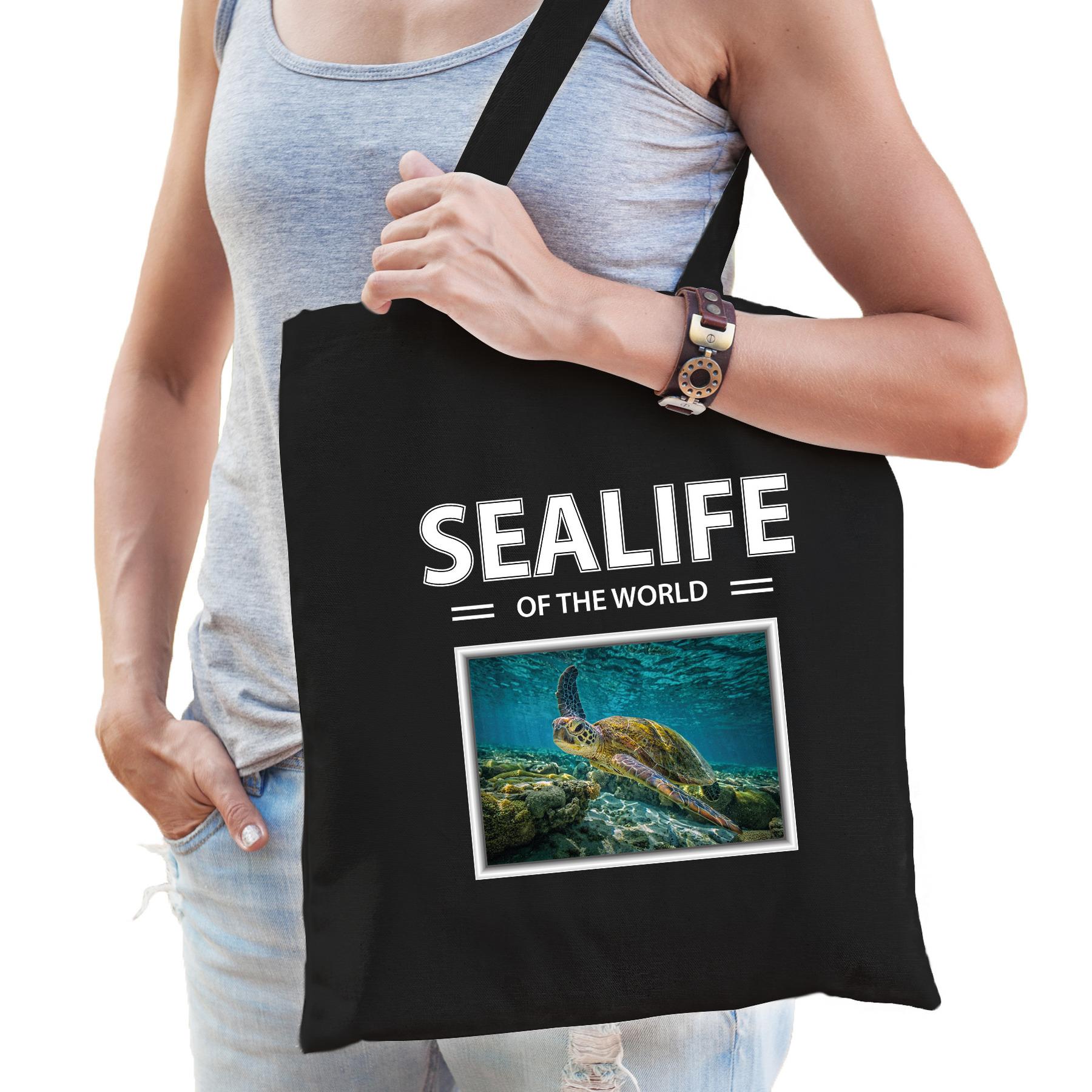 Katoenen tasje Zeeschildpad zwart - sealife of the world Schildpadden cadeau tas