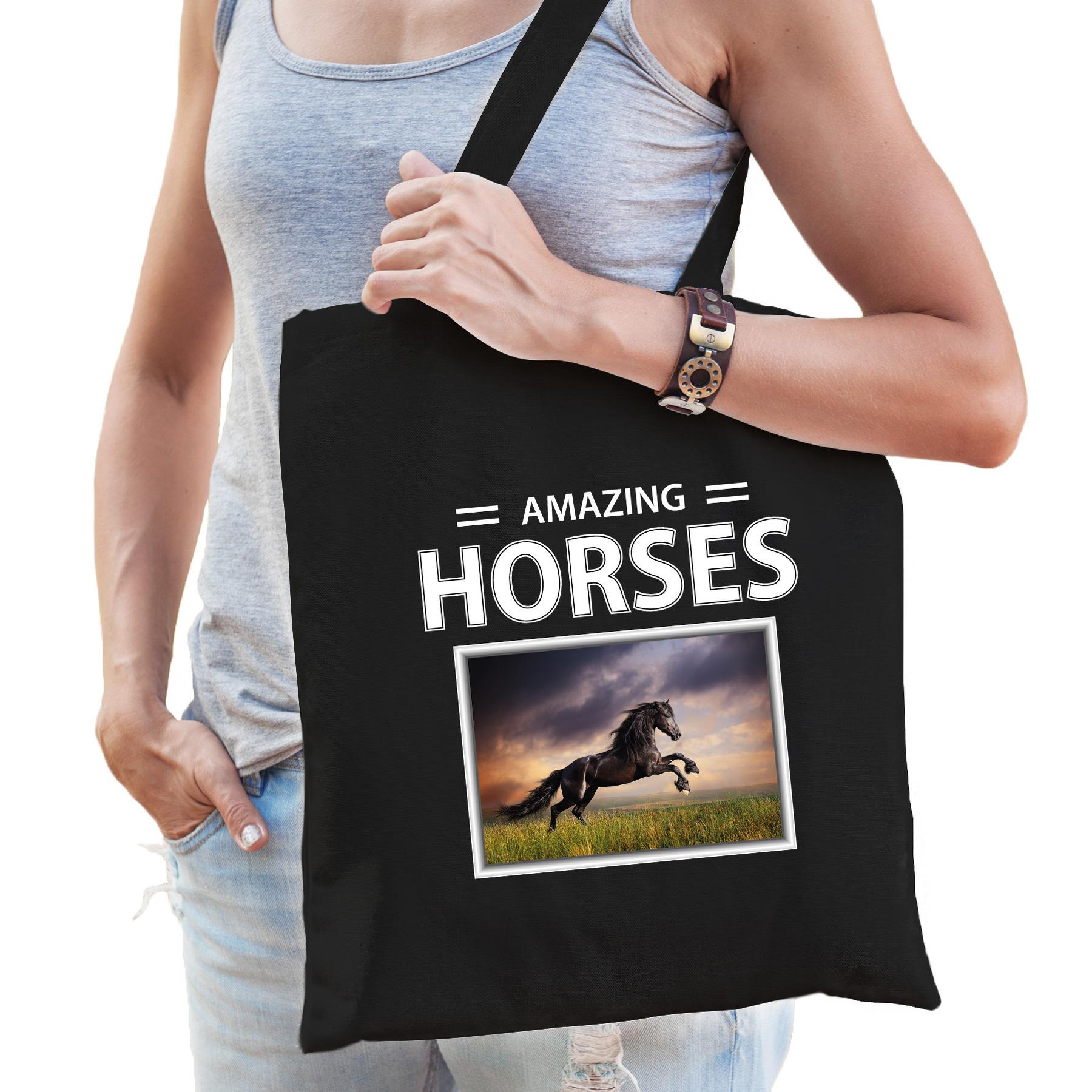 Katoenen tasje Zwarte paarden zwart - amazing horses Zwart paard cadeau tas