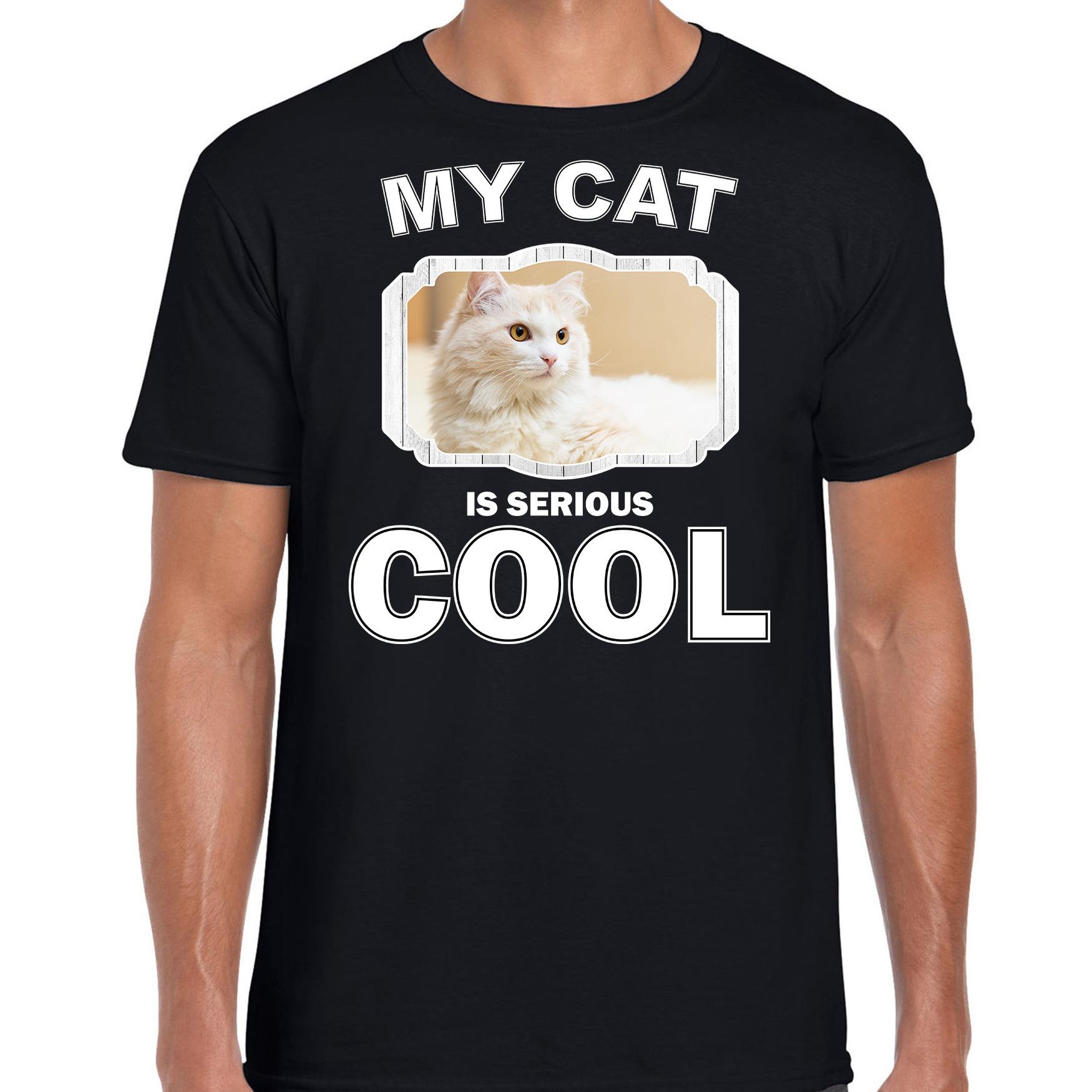 Katten liefhebber shirt Witte kat my cat is serious cool zwart voor heren