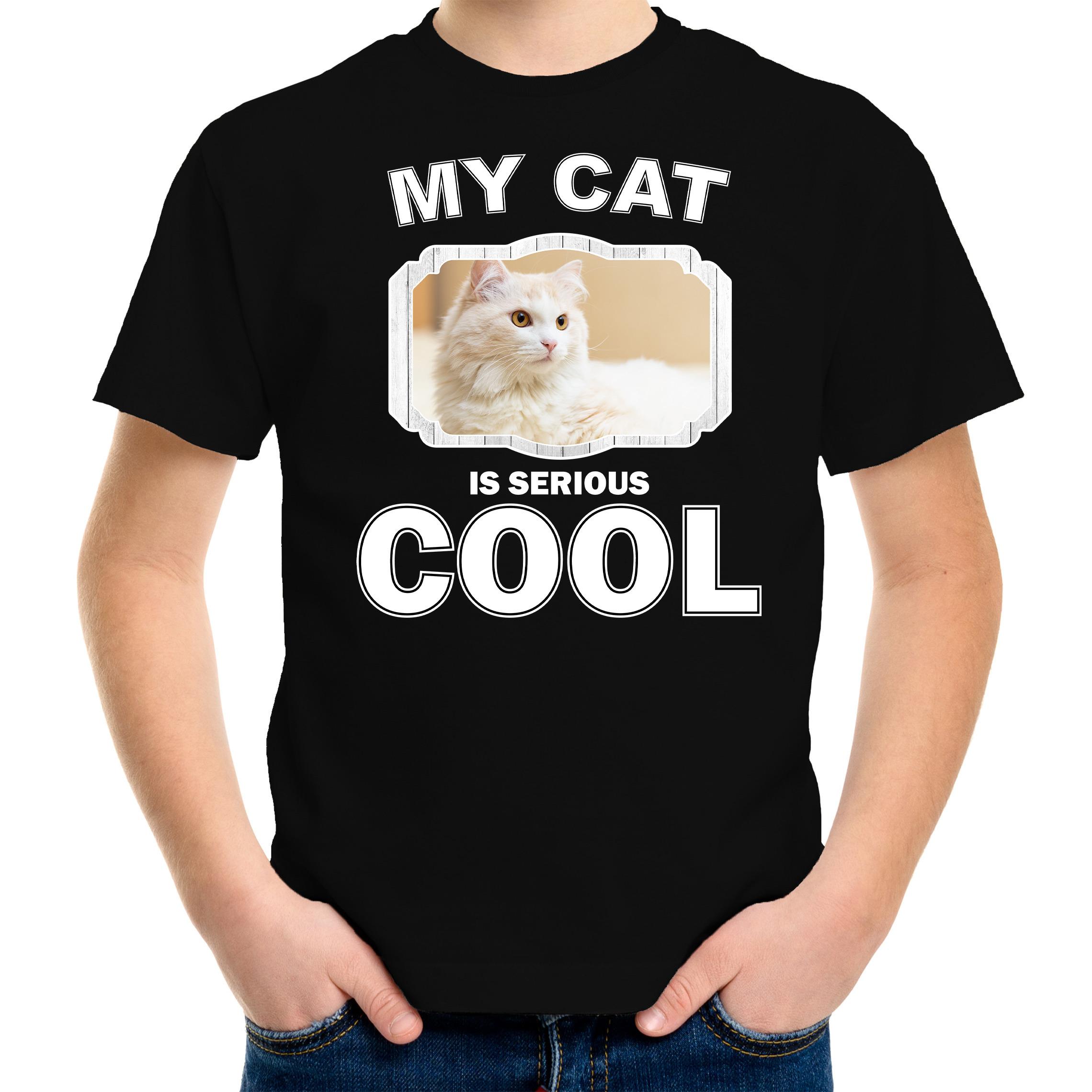 Katten liefhebber shirt Witte kat my cat is serious cool zwart voor kinderen