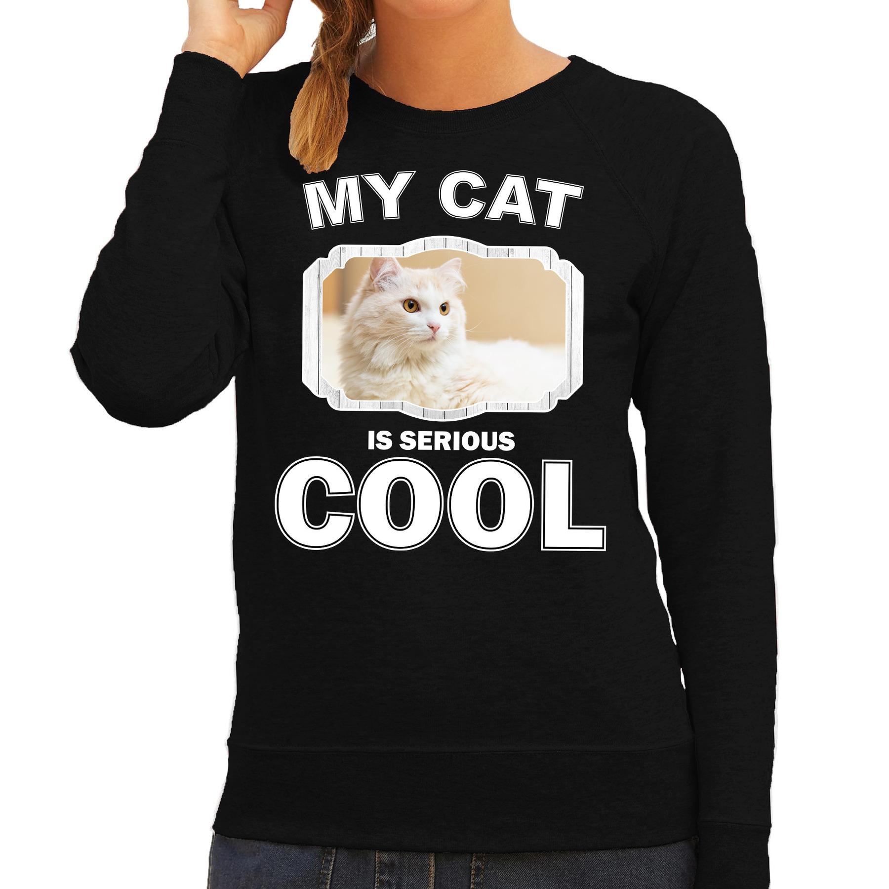 Katten liefhebber trui - sweater Witte kat my cat is serious cool zwart voor dames