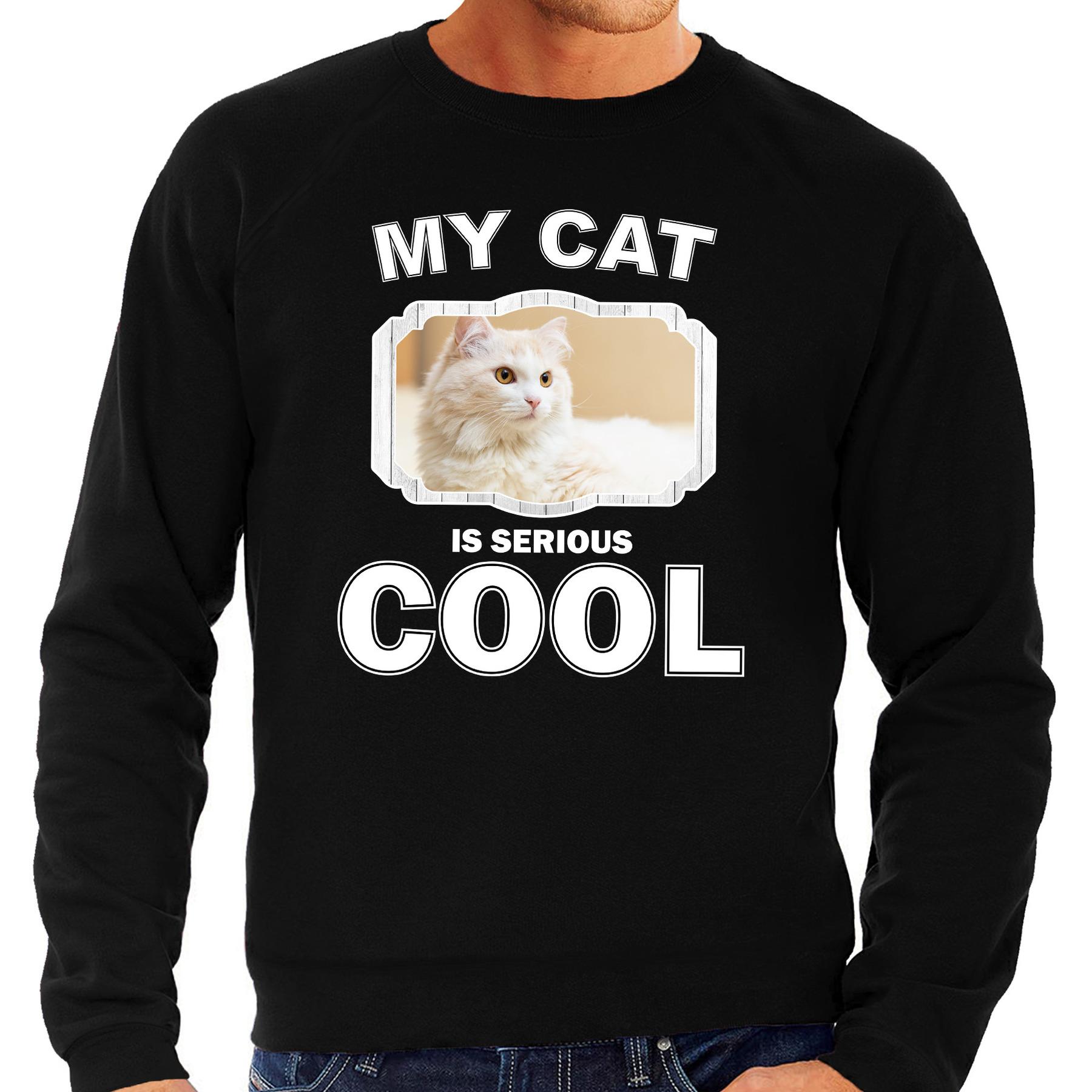 Katten liefhebber trui - sweater Witte kat my cat is serious cool zwart voor heren