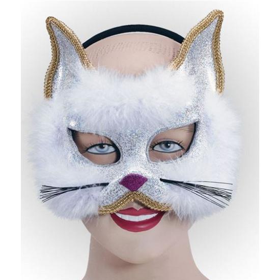 Katten masker met wit bont en glitter