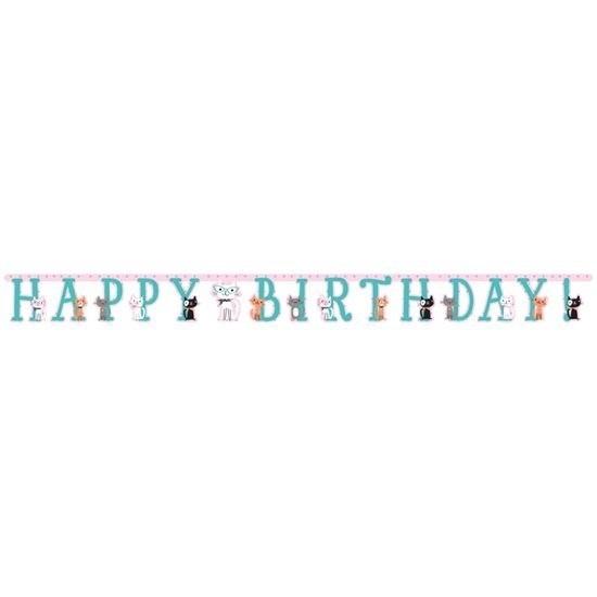 Katten/poezen feest wenslijn Happy Birthday