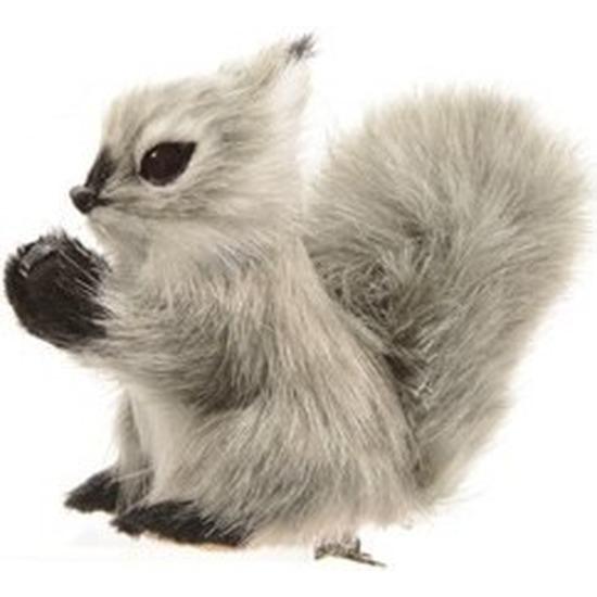 Kerst hangdecoratie op clip grijs eekhoorntje 8 cm