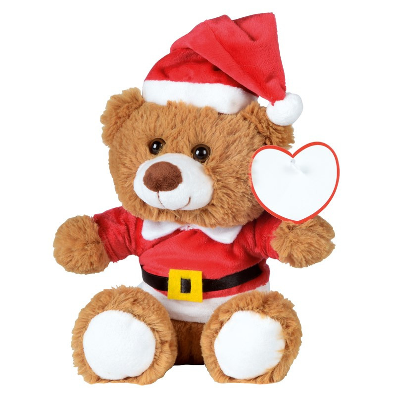 Kerst knuffelbeer pluche met kerstmuts en trui 18 x 19 cm knuffeldieren