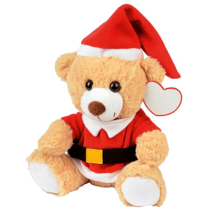 Kerst knuffelbeer pluche met kerstmuts en trui 20 x 19 cm knuffeldieren