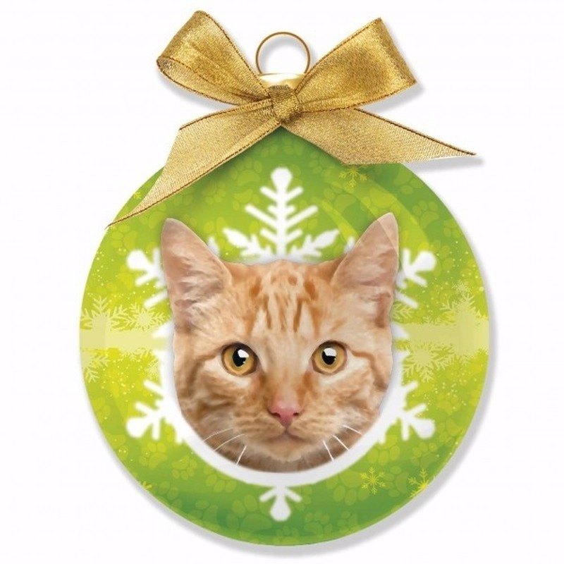 Kerstboomversiering dieren kerstballen rode kat/poes Tabby 8 cm