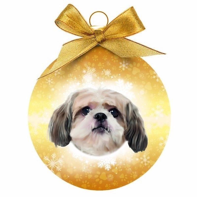Kerstboomversiering kerstballen Shih Tzu hondjes 8 cm