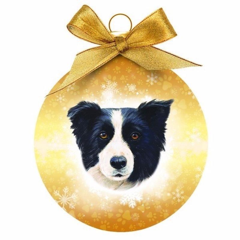 Kerstversiering kerstballen met Border Collie hond