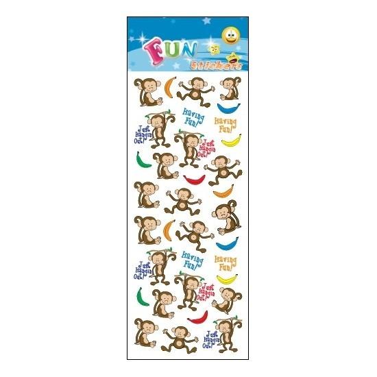Kinder stickers apen en bananen