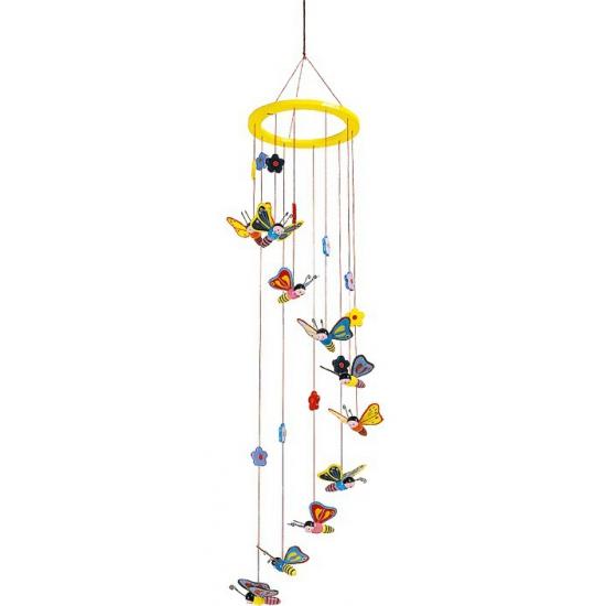 Kinderkamer decoratie mobiel met vlinders 80 cm