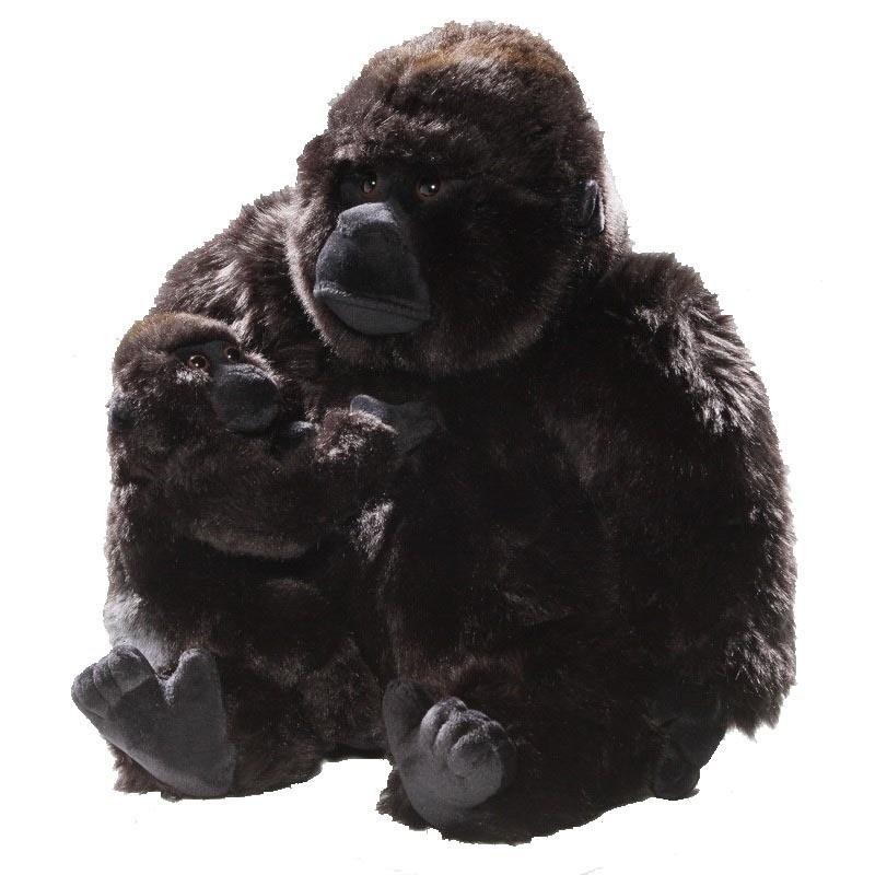 Knuffel aap gorilla met jong 28 cm