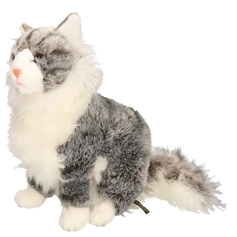 Knuffel kat grijs 35 cm