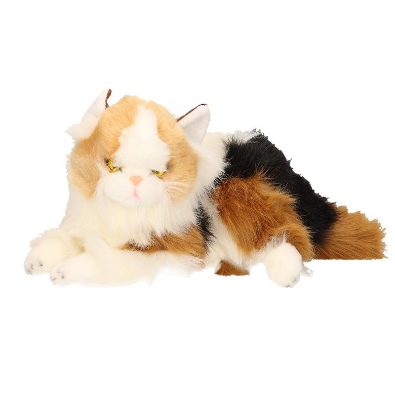 Knuffel kat rood gevlekt van 30 cm