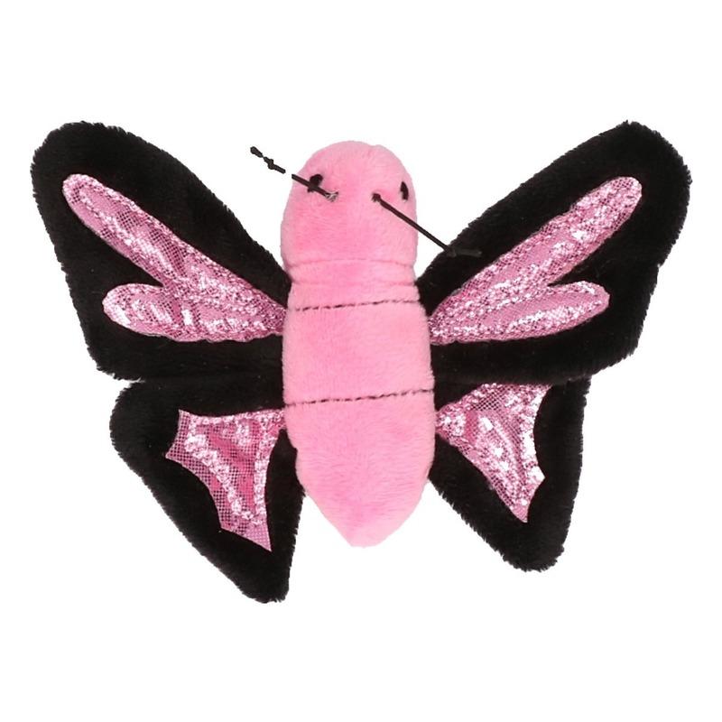 Knuffel roze vlinder 10 cm