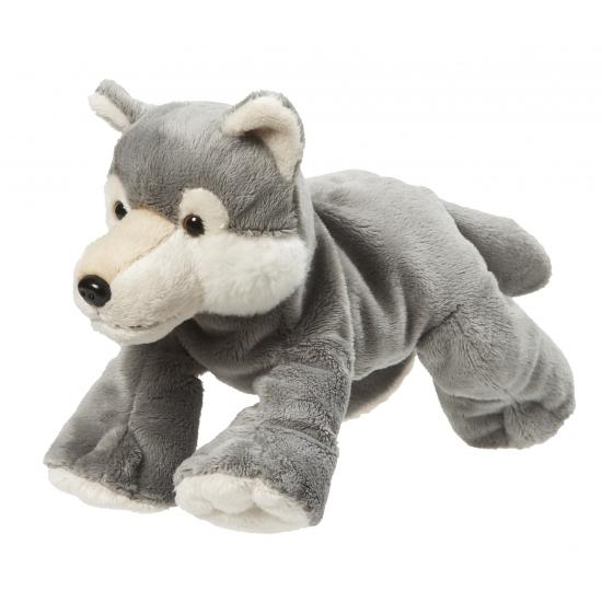 Knuffel van een grijze wolf 22 cm