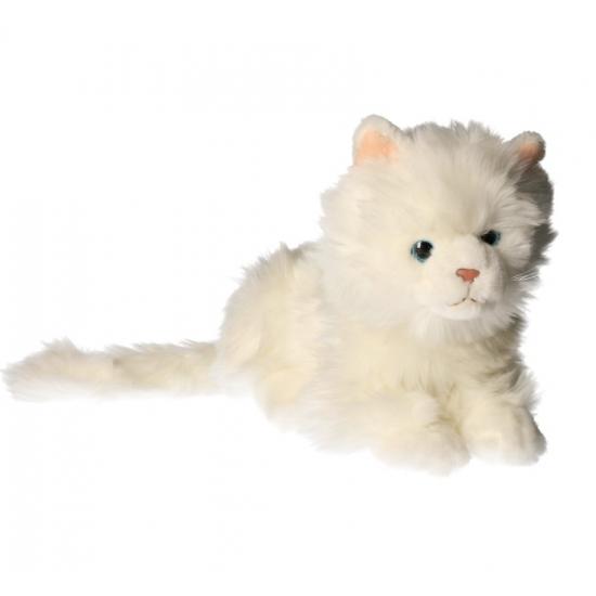 Knuffel witte kat van 27 cm