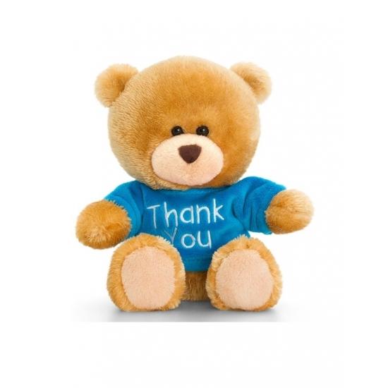 Knuffelbeer bruin met blauw shirt zittend 14cm