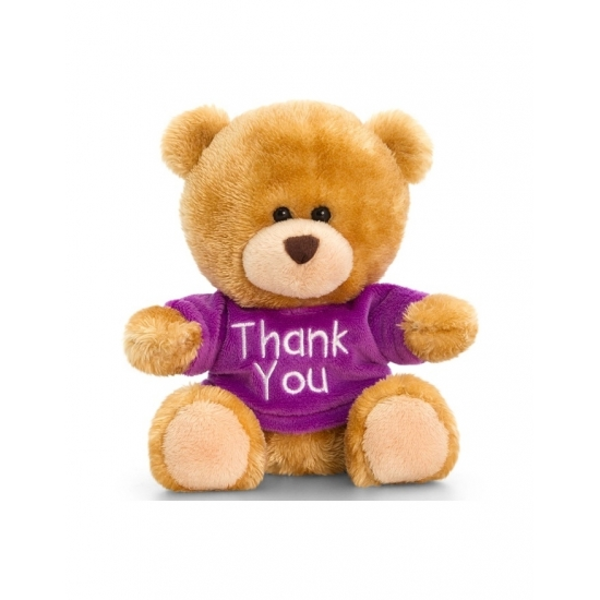 Knuffelbeer bruin met paars shirt zittend 14cm