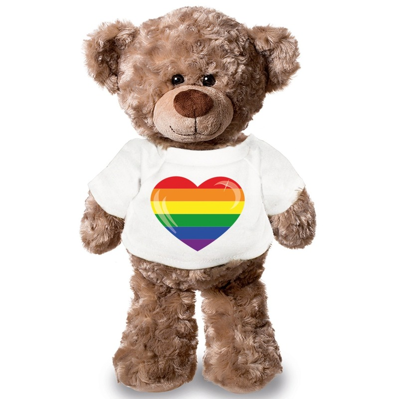 Knuffelbeer met LHBTI hart vlag t-shirt 24 cm