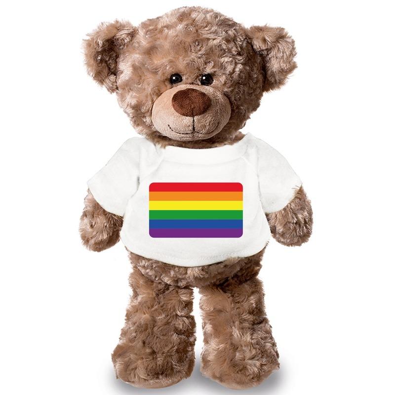 Knuffelbeer met LHBTI vlag t-shirt 43 cm