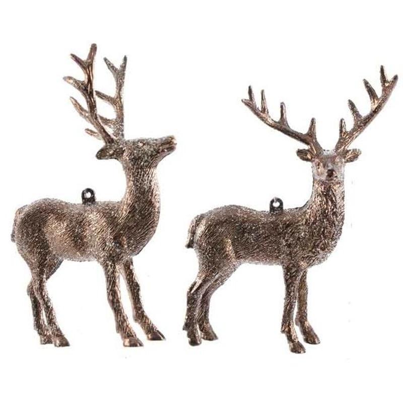 Koperbruine herten kerstornamenten kersthangers 14 cm