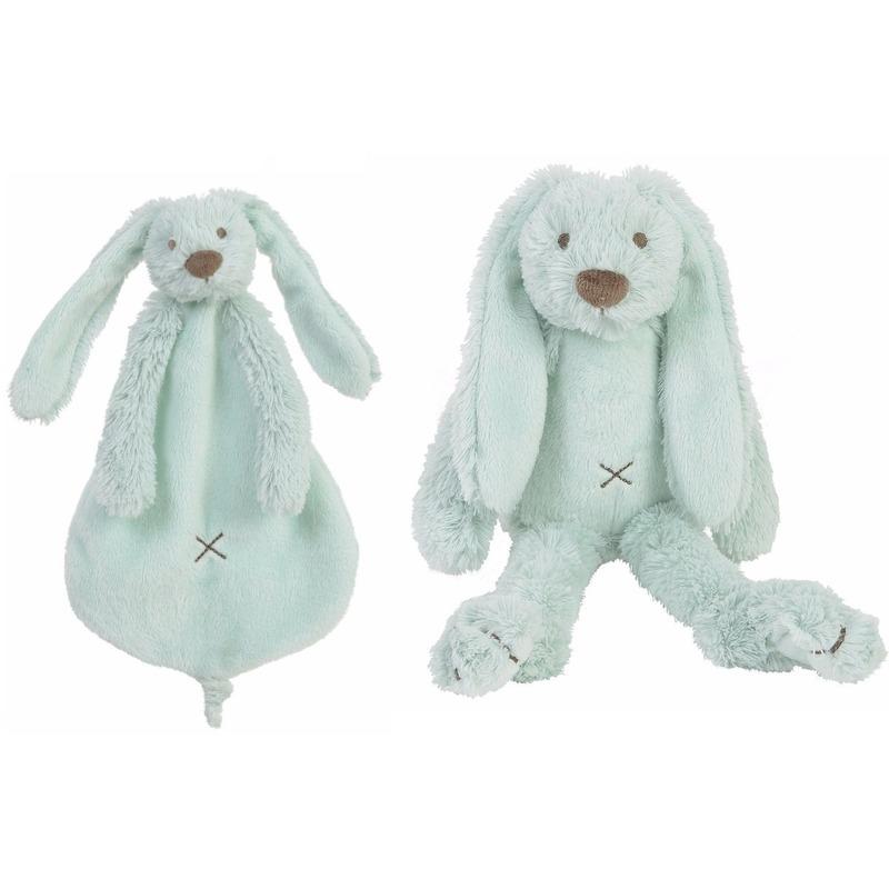 Afbeelding Kraamcadeau Rabbit Ritchie mint Happy Horse knuffeldoekje en knuffel konijntje door Animals Giftshop