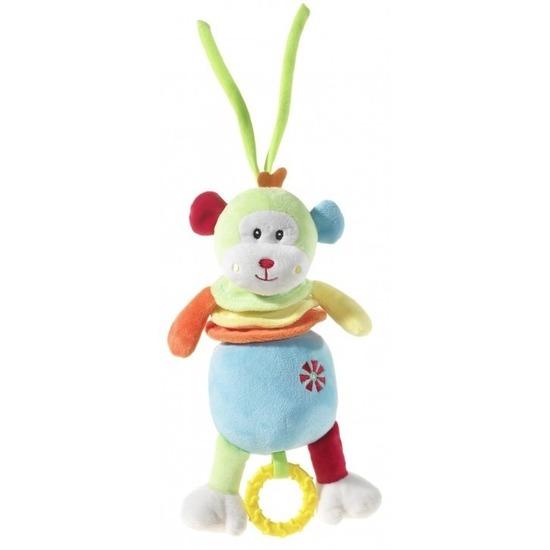 Kraamkado muziekdoos knuffel gekleurd aapje 20 cm