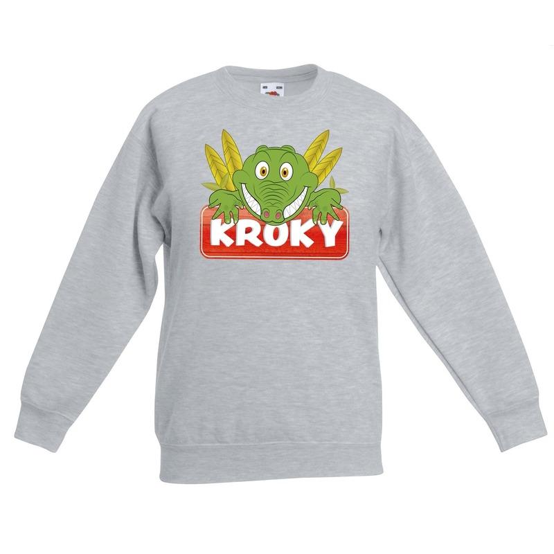 Krokodillen dieren sweater grijs voor kinderen