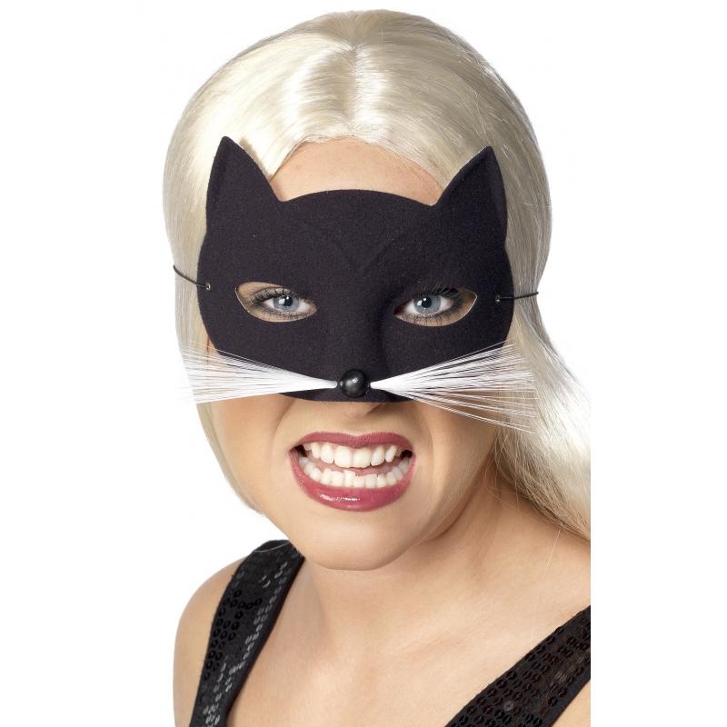 Kunstof zwarte katten masker