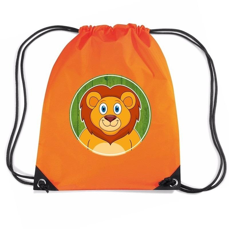 Leeuw dieren trekkoord rugzak - gymtas oranje voor kinderen