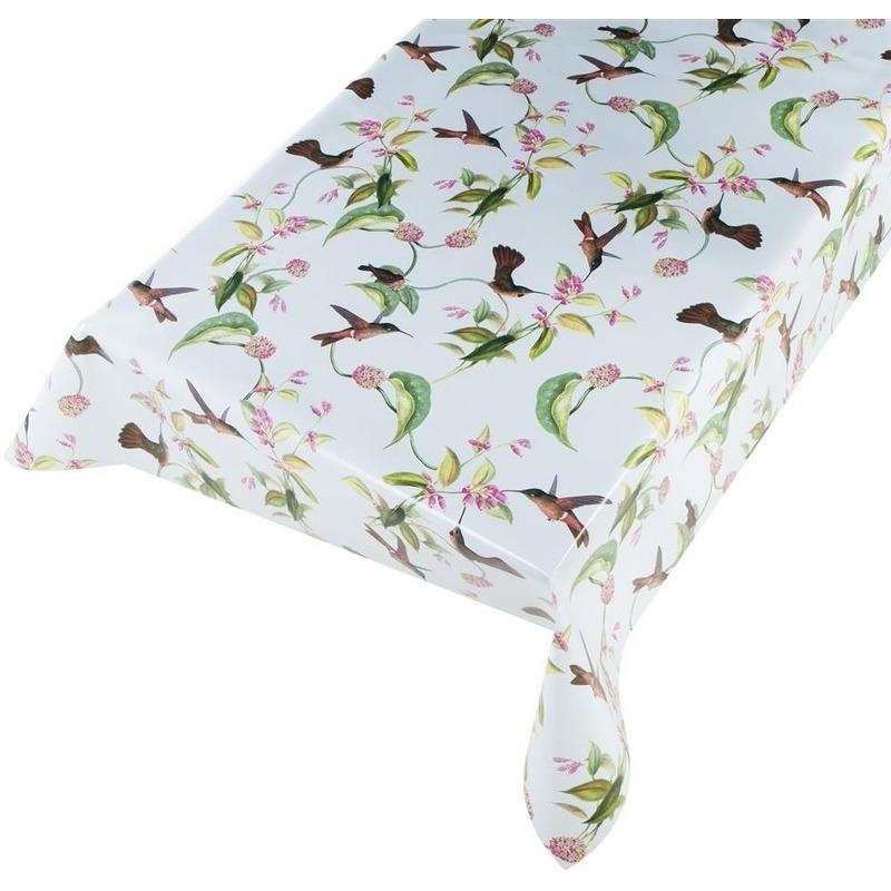 Lichtblauwe tafelkleden/tafelzeilen kolibries vogels print 140 x 245 cm rechthoekig