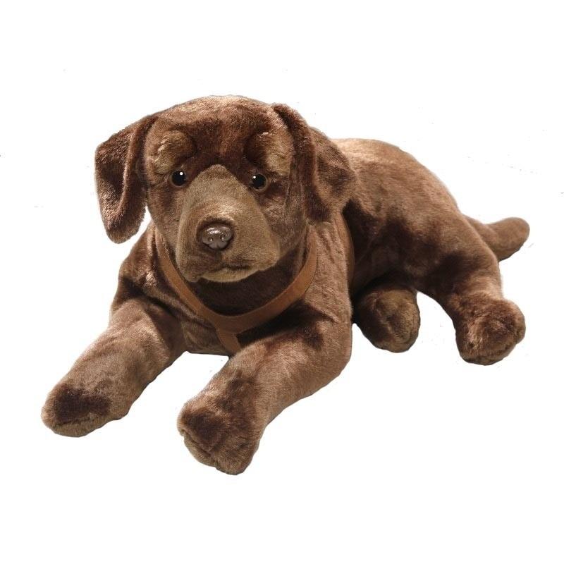 Liggende bruine labrador honden knuffel 50 cm