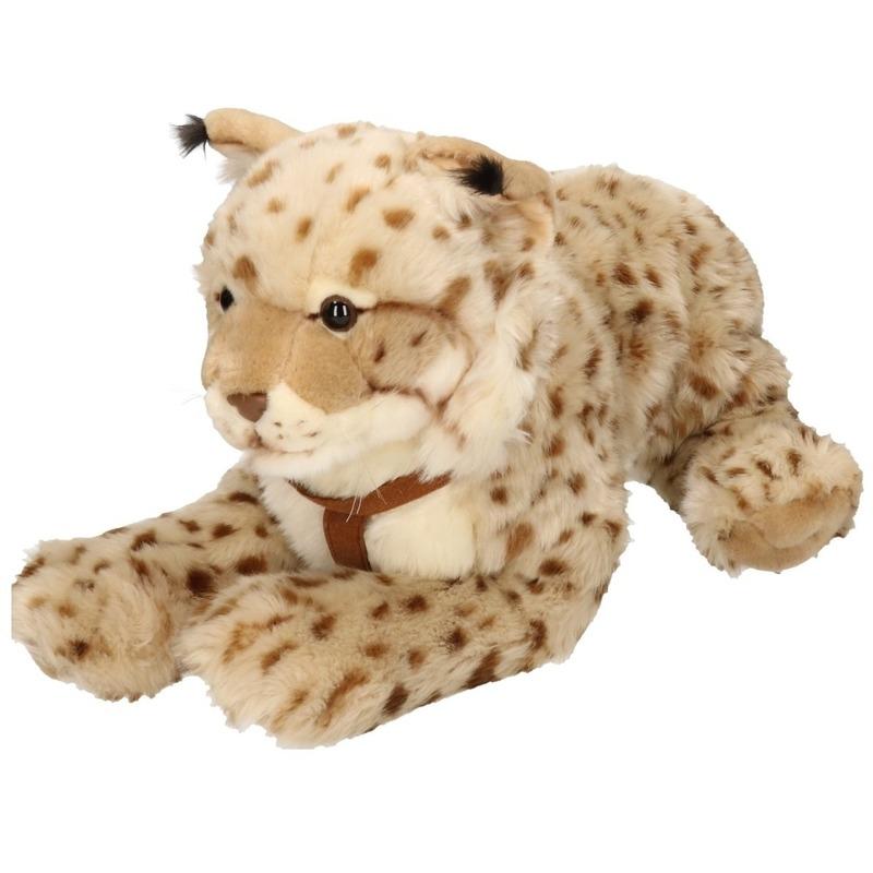 Liggende gestipte Lynx knuffel dier 42 cm