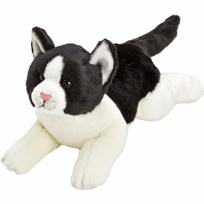 Liggende katten/poezen knuffel zwart/wit 33 cm