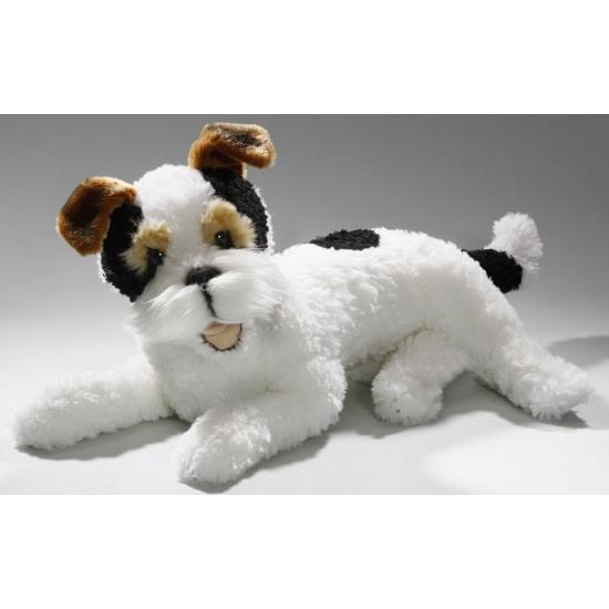 Liggende knuffel fox terrier 42 cm
