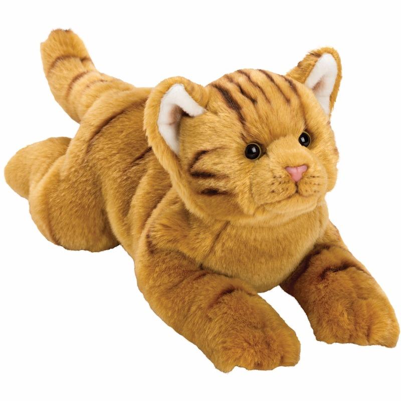 Liggende rode katten/poezen knuffel 33 cm