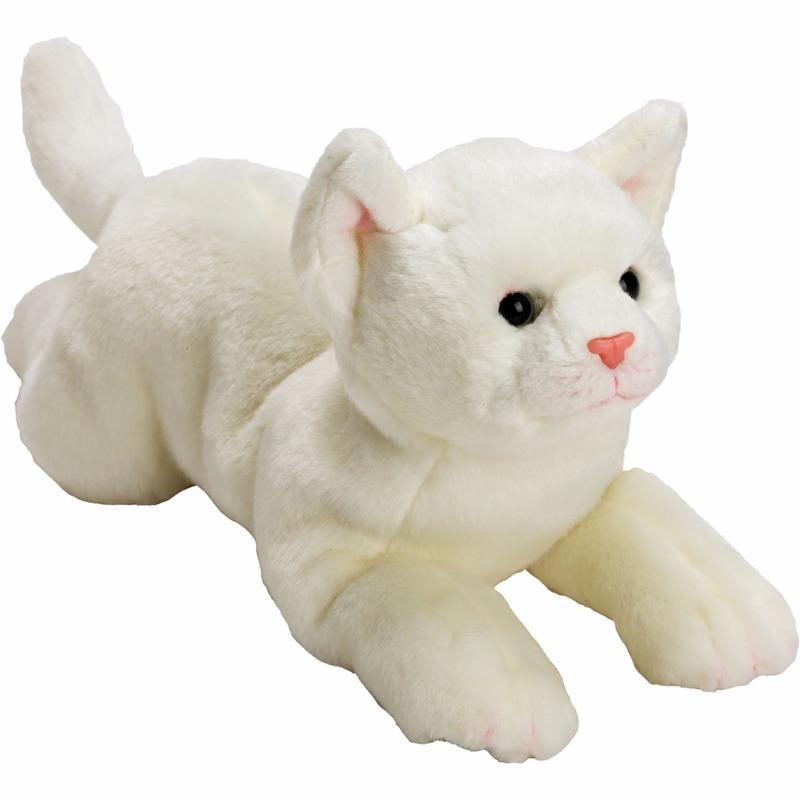 Liggende witte katten/poezen knuffel 33 cm