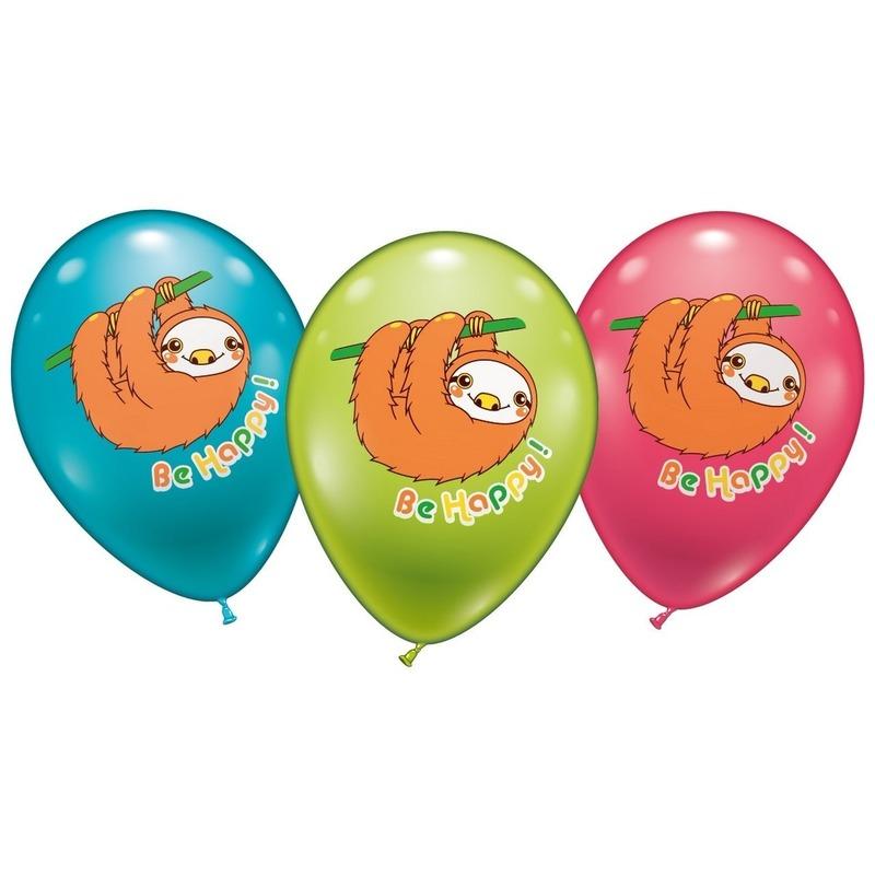 Luiaard ballonnen 6 stuks