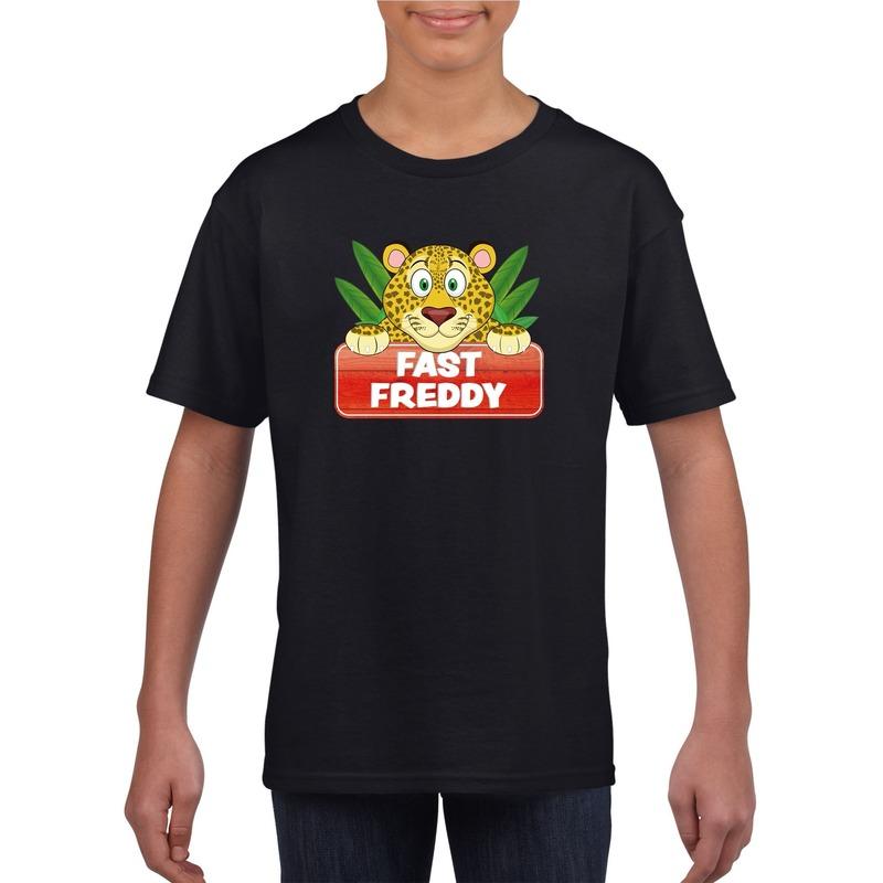 Luipaarden dieren t-shirt zwart voor kinderen