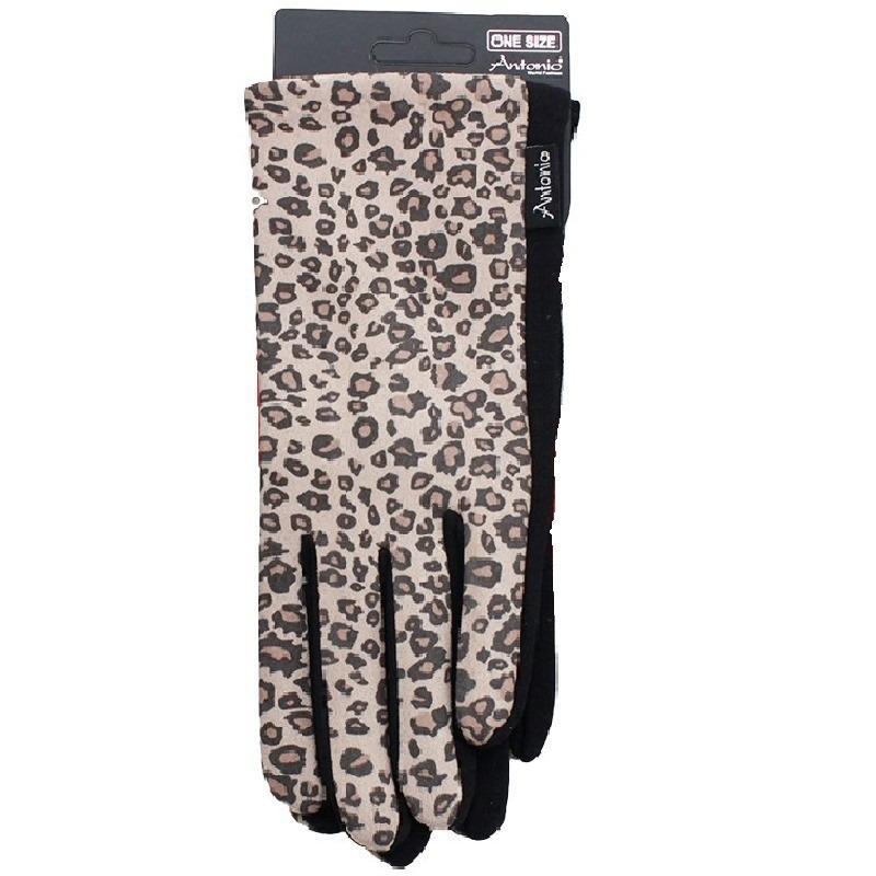 Luipaardprint smartphone touchscreen handschoentjes voor dames