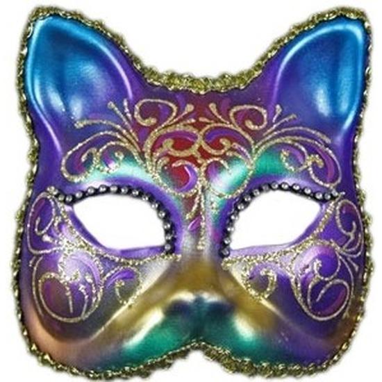 Luxueus masker regenboog kat
