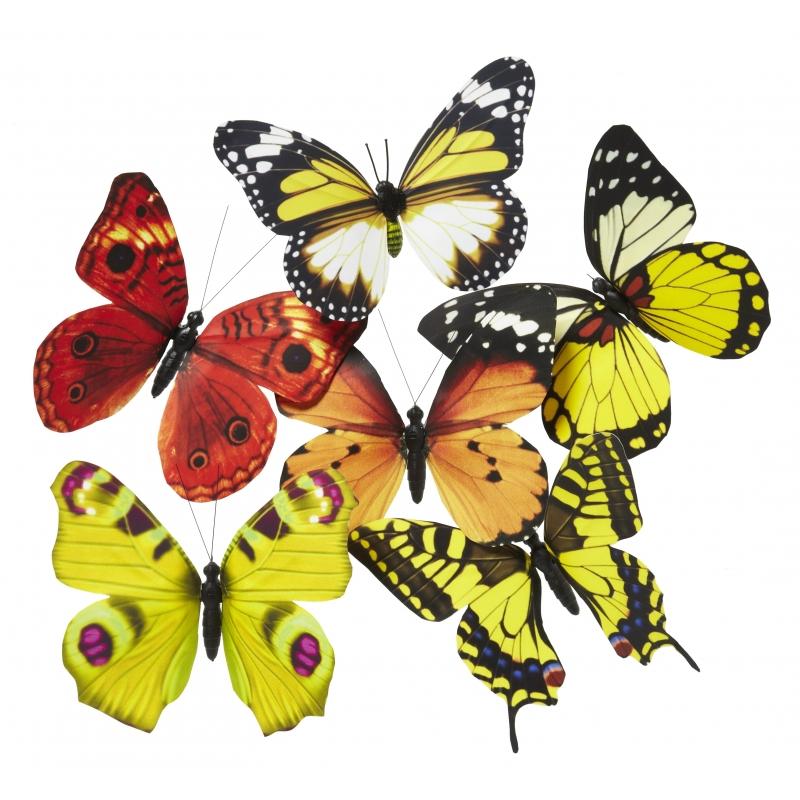 Magneet vlinder geel/oranje 13.5 cm