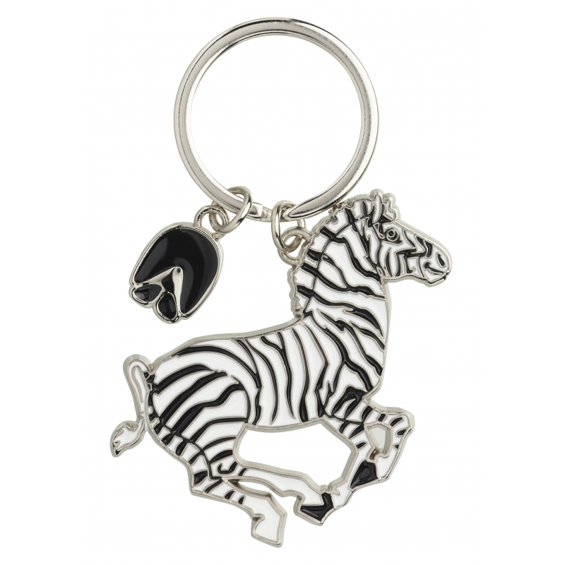 Metalen sleutelhanger zebra 5 cm