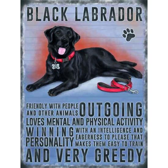 Metalen wand bord zwarte Labrador