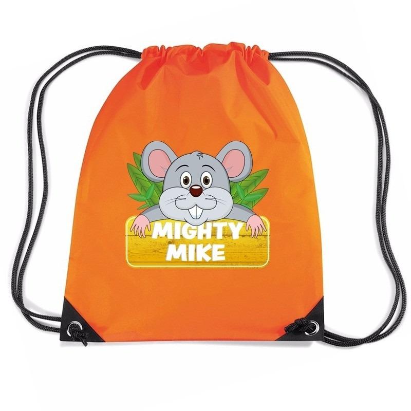 Mighty Mike de muis trekkoord rugzak - gymtas oranje voor kinderen