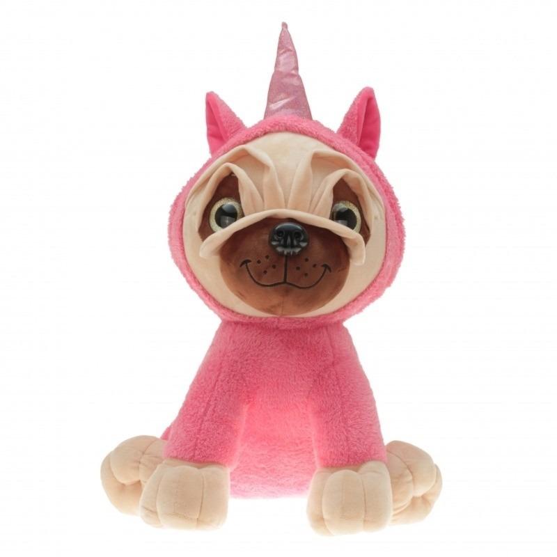 Mopshondje met roze eenhoorn kostuum 40 cm