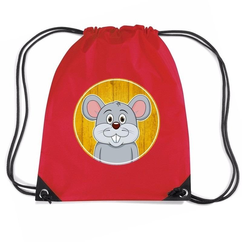 Muis dieren trekkoord rugzak - gymtas rood voor kinderen