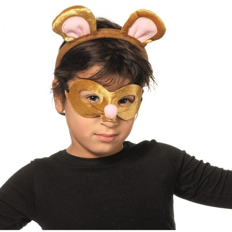 Muis oogmasker met diadeem voor kids